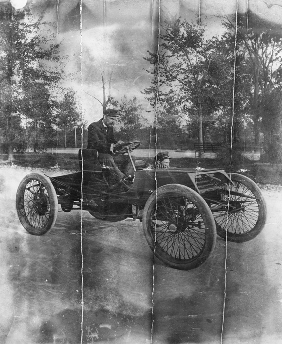 Henry Ford in the 1901 Ford 'Sweepstakes' Racer on West Grand Boulevard, Detroit, Michigan, 1901