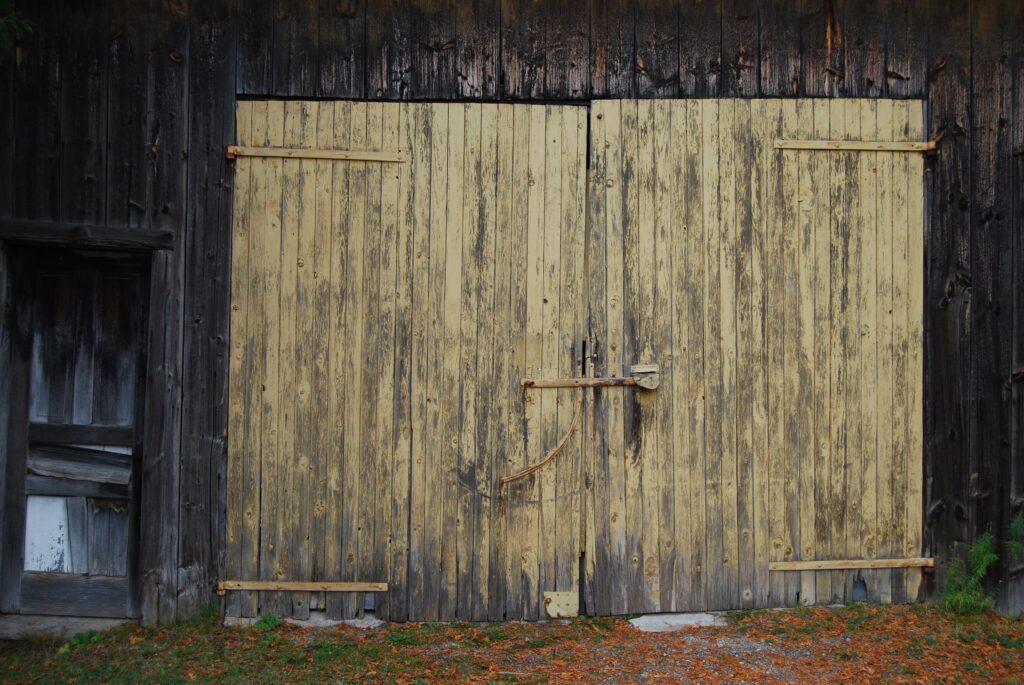 An old garage door made of wood